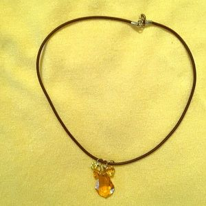 Light Amber Color Crystal Necklace